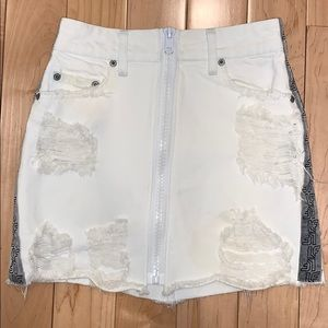 LF white ripped jean skirt